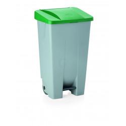 WAS Tretabfallbehälter mit grünem Deckel 80 Liter 41 x 50 x 74 cm Polyethylen