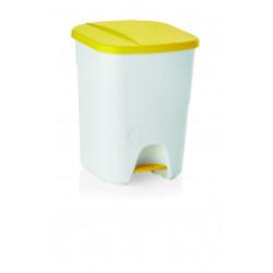 WAS Treteimer mit gelbem Deckel 25 Liter 25 x 40 x 41,5 cm Polypropylen