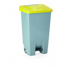 WAS Tretabfallbehälter mit gelbem Deckel 80 Liter 41 x 50 x 74 cm Polyethylen
