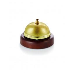 WAS Rezeptionsglocke mit Holzunterteil Ø 9 cm goldfarben Edelstahl