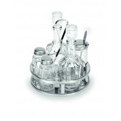 WAS Menage 1480 5-teilig Essig & Öl Salz & Pfeffer Senfglas Glas