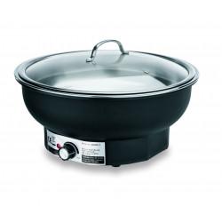 WAS Elektro Chafing Dish mit Glasdeckel 6,8 Liter Ø 39,5 cm Polypropylen