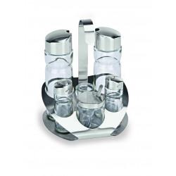 WAS Menage 6-teilig Essig & Öl Salz & Pfeffer Senfglas Zahnstocher Glas