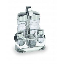 WAS Menage 5-teilig Essig & Öl Salz & Pfeffer Senfglas Glas