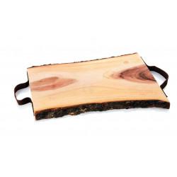 WAS Servierbrett Tray Acacia mit 2 Ledergriffen,48 x 31,5 cm Holz