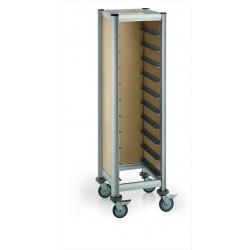 WAS Tablettwagen Trolley Mensa für 10 Tabletts beige 51,5 x 47,5 x 165 MDF Holzoptik/Alu