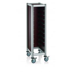 WAS GN Tablettwagen Trolley Mensa für 1/1 für 10 Tabletts braun 60,5 x 44,5 x 165 cm MDF/Alu