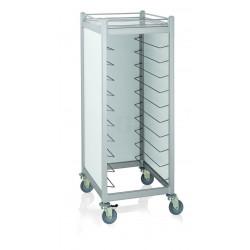 WAS GN Tablettwagen Trolley Cucina für GN 1/1 weiß 66,5 x 82 x 168 cm Aluminium