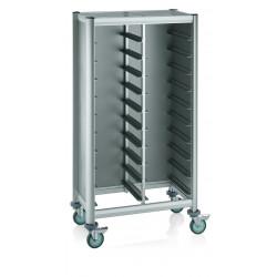 WAS Tablettwagen Trolley Mensa für 2x10 Tabletts silber 86 x 51 x 165 cm MDF Holzoptik/Alu