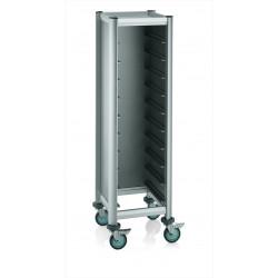 WAS Tablettwagen Trolley Mensa für 10 Tabletts silber 51,5 x 47,5 x 165 MDF Holzoptik/Alu