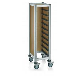 WAS GN Tablettwagen Trolley Mensa für 1/1 für 10 Tabletts beige 60,5 x 44,5 x 165 cm MDF/Alu