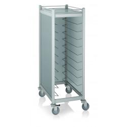 WAS Tablettwagen Trolley Cucina für Tabletts 45,5 x35,5 cm silber 59,5 x 91 x 168 cm Aluminium