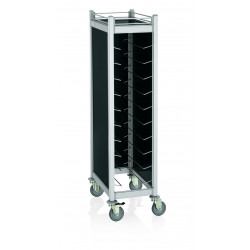 WAS GN Tablettwagen Trolley Cucina für GN 1/1 schwarz 68 x 46 x 168 cm Aluminium