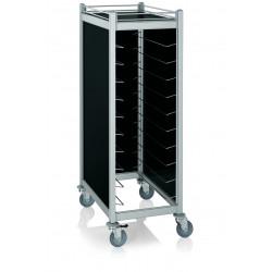 WAS Tablettwagen Trolley Cucina für Tabletts 45,5 x35,5 cm schwarz 59,5 x 91 x 168 cm Aluminium