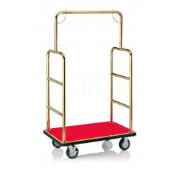 WAS Gepäckwagen 105,5 x 62,5 x 183 cm goldfarben roter Teppich Edelstahl