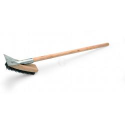 WAS Reinigungsbürste mit Schaber 79 cm mit Stahlborsten 2,5 cm Holz
