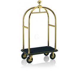 WAS Gepäckwagen 113 x 62 x 191 cm goldfarben schwarzer Teppich Edelstahl