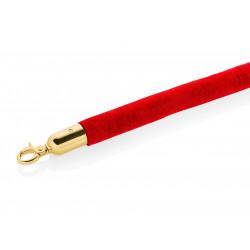 WAS Verbindungstau Classic Ø 3,2 cm 1,5 m rot Velours goldfarben Edelstahl