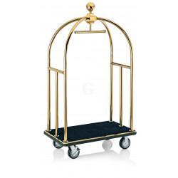 WAS Gepäckwagen 112 x 61 x 186 cm goldfarben schwarzer Teppich Edelstahl