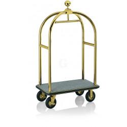 WAS Gepäckwagen 113 x 62 x 191 cm goldfarben grauer Teppich Edelstahl