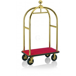 WAS Gepäckwagen 113 x 62 x 191 cm goldfarben roter Teppich Edelstahl