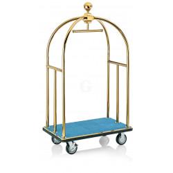 WAS Gepäckwagen 112 x 61 x 186 cm goldfarben blauer Teppich Edelstahl