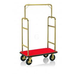 WAS Gepäckwagen 113 x 62 x 183 cm goldfarben roter Teppich Edelstahl