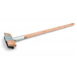WAS Reinigungsbürste mit Schaber 75 cm mit Stahlborsten 2,5 cm Holz