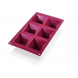 WAS Pyramide Cake Pan 31 red 6 Formen,Silikon