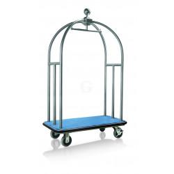 WAS Gepäckwagen 112 x 61 x 186 cm silberfarben gebürstet blauer Teppich Edelstahl