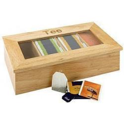 APS Teebox mit 4 Kammern 33,5x20x9 cm Holz hell