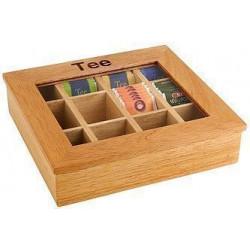 APS Teebox mit 12 Kammern 31x28x9 cm Holz hell