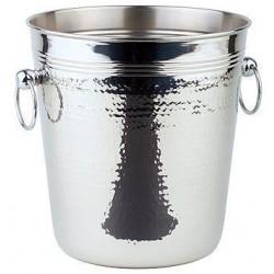 APS Wein-/ Sektkühler Edelstahl poliert 21x21,5 cm HAMMERSCHLAG