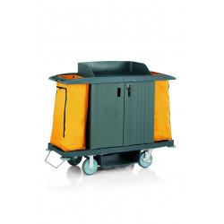 WAS Zimmerservicewagen 2 Türen und 2 Wäschesäcke gelb 154 x 54 x 130 cm Kunststoff