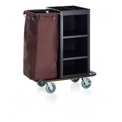WAS Zimmerservicewagen 1 Wäschesäcke 95 x 57 x114 cm Stahlrahmen braun lackiert
