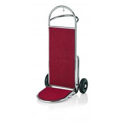 WAS Gepäckkarre 61 x 70,5 x 121 cm silberfarben roter Teppich Edelstahl
