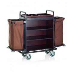WAS Zimmerservicewagen 2 Wäschesäcke 146 x 50 x120 cm Stahlrahmen braun lackiert
