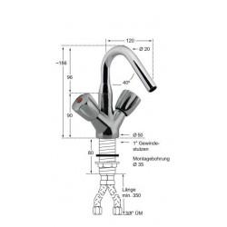 Knauss Armatur gastro Kessel Einlauf Einlochbatterie A 120 - H 90