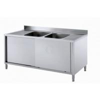 Gastro-Steel Edelstahl Spülschrank mit 2 Becken 2000x600 mm