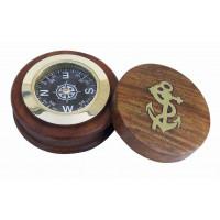 SeaClub Kompass mit Deckel Holz/Messing