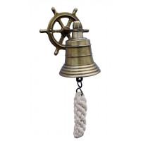 SeaClub Glocke mit Steuerrad-Wandhalterung antik
