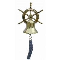 SeaClub Glocke mit Steuerrad-Wandhalterung blauen Bändsel