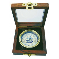 SeaClub Kompass in Holzbox mit Glasdeckel