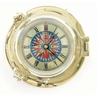 Sea Club Bullaugen-Uhr mit Windrosenzifferblatt 18 cm