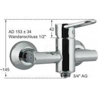 Knauss Armatur taya Hebelmischer Wandbatterie mit Rückflussverhinderer und Rohrbelüfter 3/4 Zoll