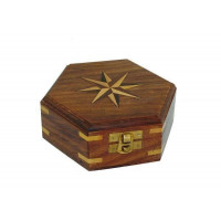 SeaClub Holzbox mit Windrose-Inlay klein