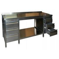 Edelstahl Arbeitstisch mit 2 Schubladenblöcken und Bodenablage Serie Variabel-20