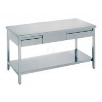 Edelstahl Arbeitstisch mit zwei Schubladen Serie Standard-20