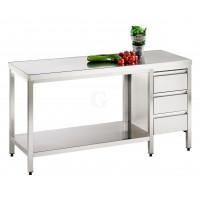 Edelstahl Arbeitstisch mit Schubladenblock und Bodenablage Serie Variabel-20