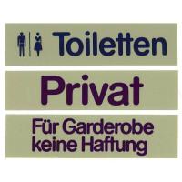 Contacto Schild, FÜR GARDEROBE KEINE HAFTUNG